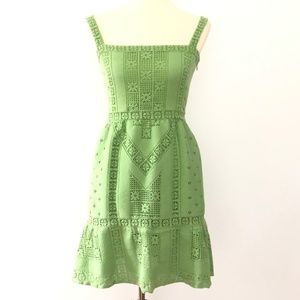 Valentino Guipure Lace Sleeveless Dress Green
